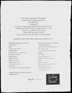Salvador Dali - Aliyah - Justification Page