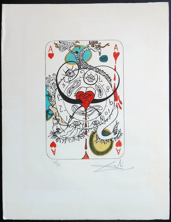 Salvador Dali - Playing Cards - Playing Cards Hearts - Ace of Hearts