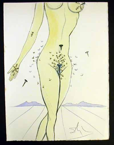 Salvador Dali - Dali Illustre Casanova - Ants, Nails & Flies on Nude