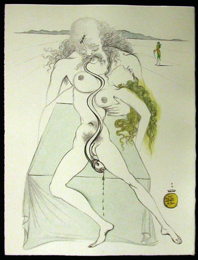 Salvador Dali - Dali Illustre Casanova - Nude Couple, Large Serpent