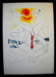 Salvador Dali - The Conquest of the Cosmos II - The caduceus of Mars fed by the  fireball of Jupiter