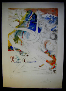 Salvador Dali - The Conquest of the Cosmos II - The Unicorn laser disintegrates the  horns of the Cosmic rhinoceros