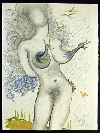 Salvador Dali - Dali Illustre Casanova - Nude with Snail Breasts