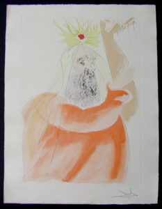Salvador Dali - Our Historical Heritage - King David drypoint etching