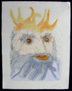 Salvador Dali - Our Historical Heritage - King Saul drypoint etching