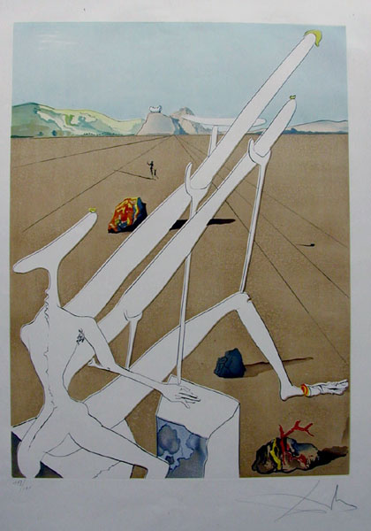 Salvador Dali - The Conquest of the Cosmos I - Martian Dali equipped with adouble holoelectronic microscope