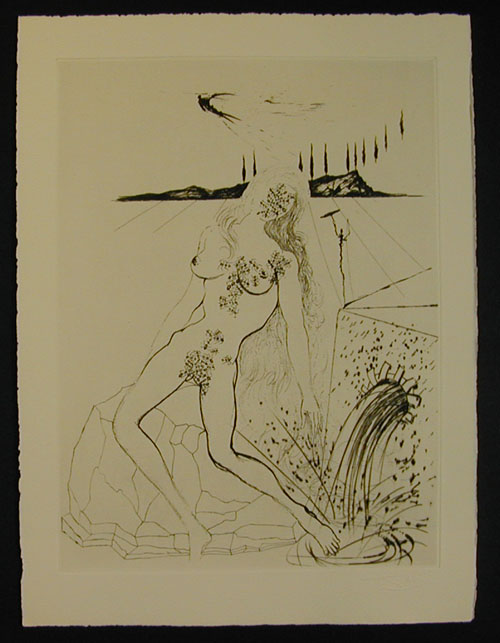 Salvador Dali - Secret Poems by Guillaume Apollinaire - Nude at the Fountain