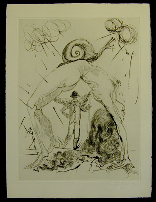 Salvador Dali - Secret Poems by Guillaume Apollinaire - Nude with Snail