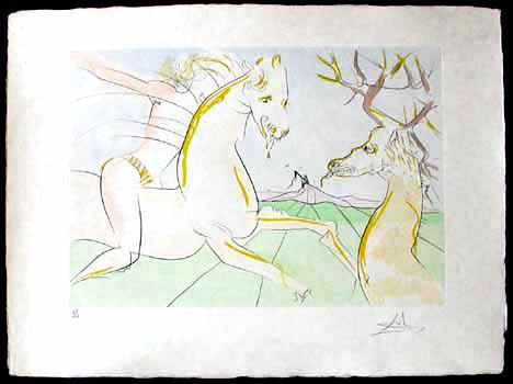 Salvador Dali - Le Bestiaire de La Fontaine - Le Cavalier et le Cerf