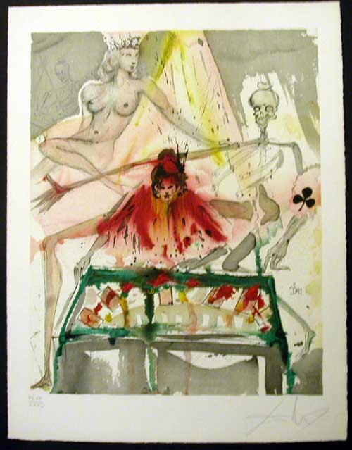 Salvador Dali - Carmen - The Cards Spell Death to Carmen