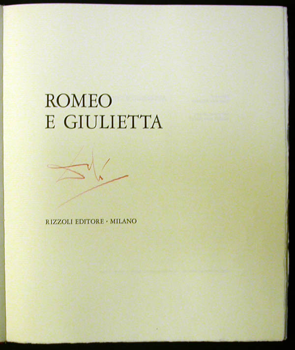 Salvador Dali - Romeo and Juliet - Title Page w/signature