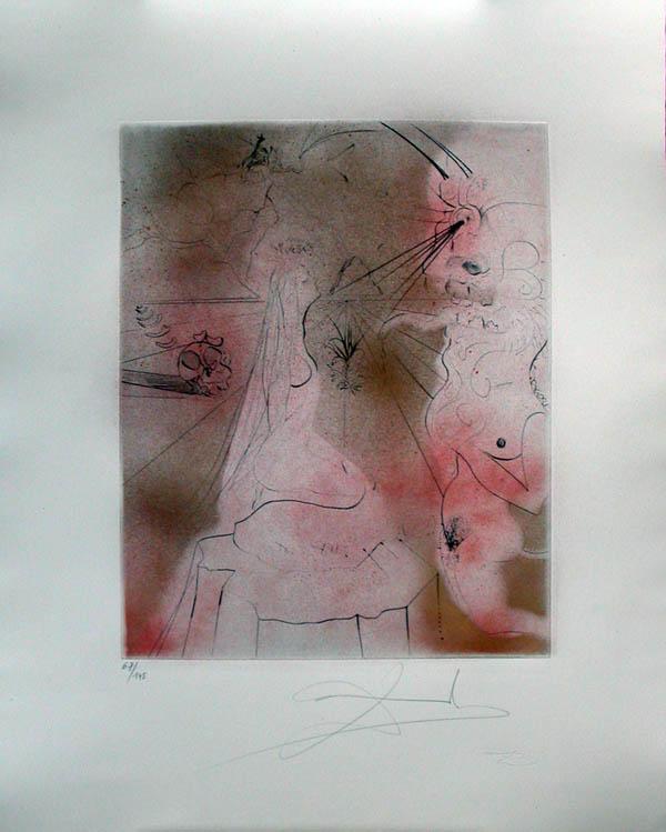 Salvador Dali - Hippies - Woman with Cushion, La Femme au cousin