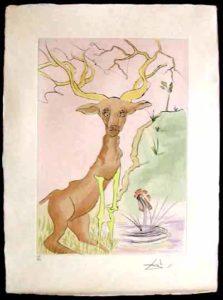 Salvador Dali - Le Bestiaire de La Fontaine - Le Cerf se Voyant dans L'eau