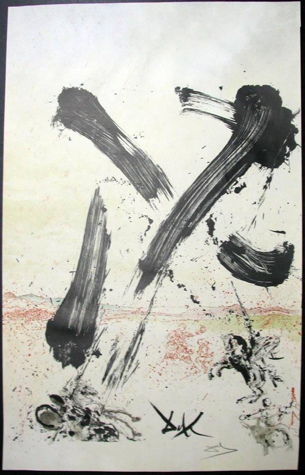 Salvador Dali - Don Quichotte de la Mancha, Book A - 1957 - Attaque des moulins Attack on the Windmills