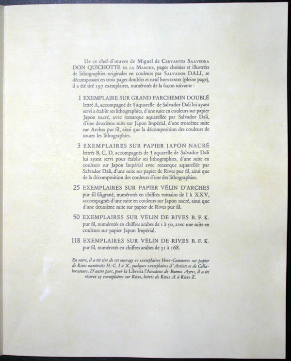Salvador Dali - Don Quichotte de la Mancha, Book A - 1957 - Justification
