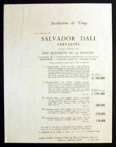 Salvador Dali - Don Quichotte de la Mancha, Book A - 1957 - Title Page