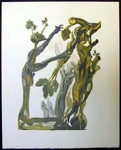 Salvador Dali - Divine Comedy - The wood and the Suicide