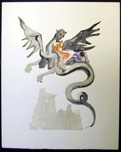 Salvador Dali - Divine Comedy - On Geryon's Back