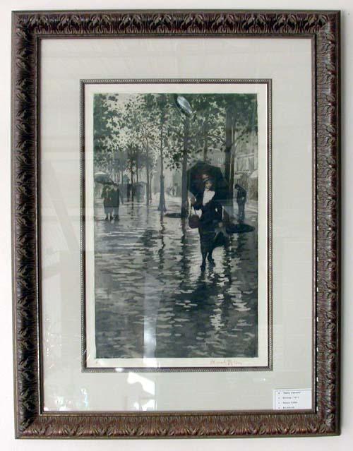 Manuel Robbe Rainy Sidewalk in Paris - 1911