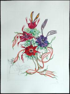Salvador Dali - Surrealist Flowers, Florals - Anemone + forks, A