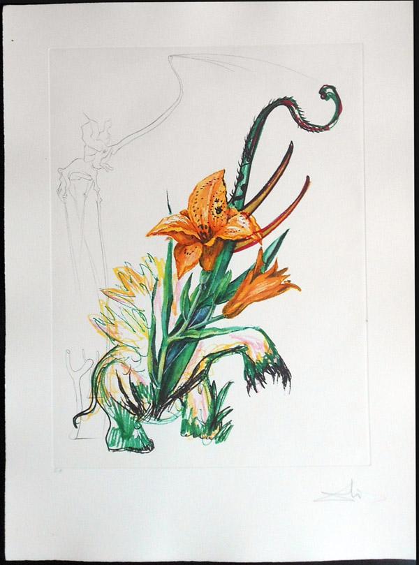 Salvador Dali - Surrealist Flowers, Florals - Lily + elephant, D