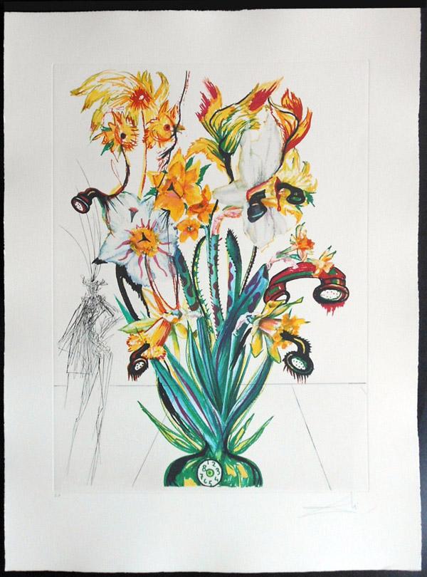Salvador Dali - Surrealist Flowers, Florals - Narcussus + Phones, J