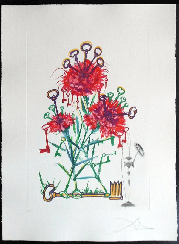 Salvador Dali - Surrealist Flowers, Florals - Carnation + Keys, M