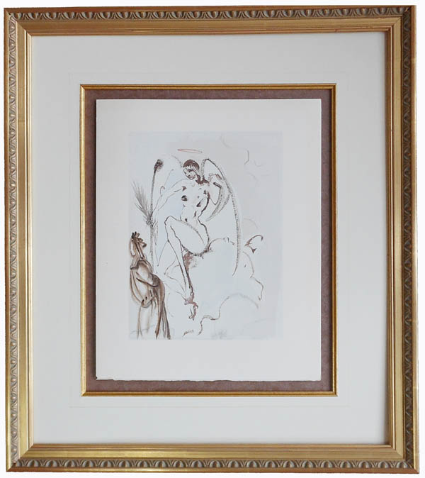 Salvador Dali - Divine Comedy Framing - floated, French lines, fillet w/gold gilded frame