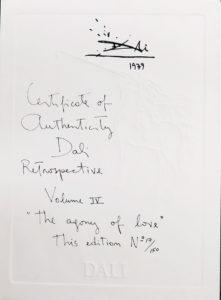 Salvador Dali - Retrospective - Example Certificate